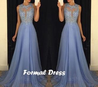 dress prom blue lace maxi
