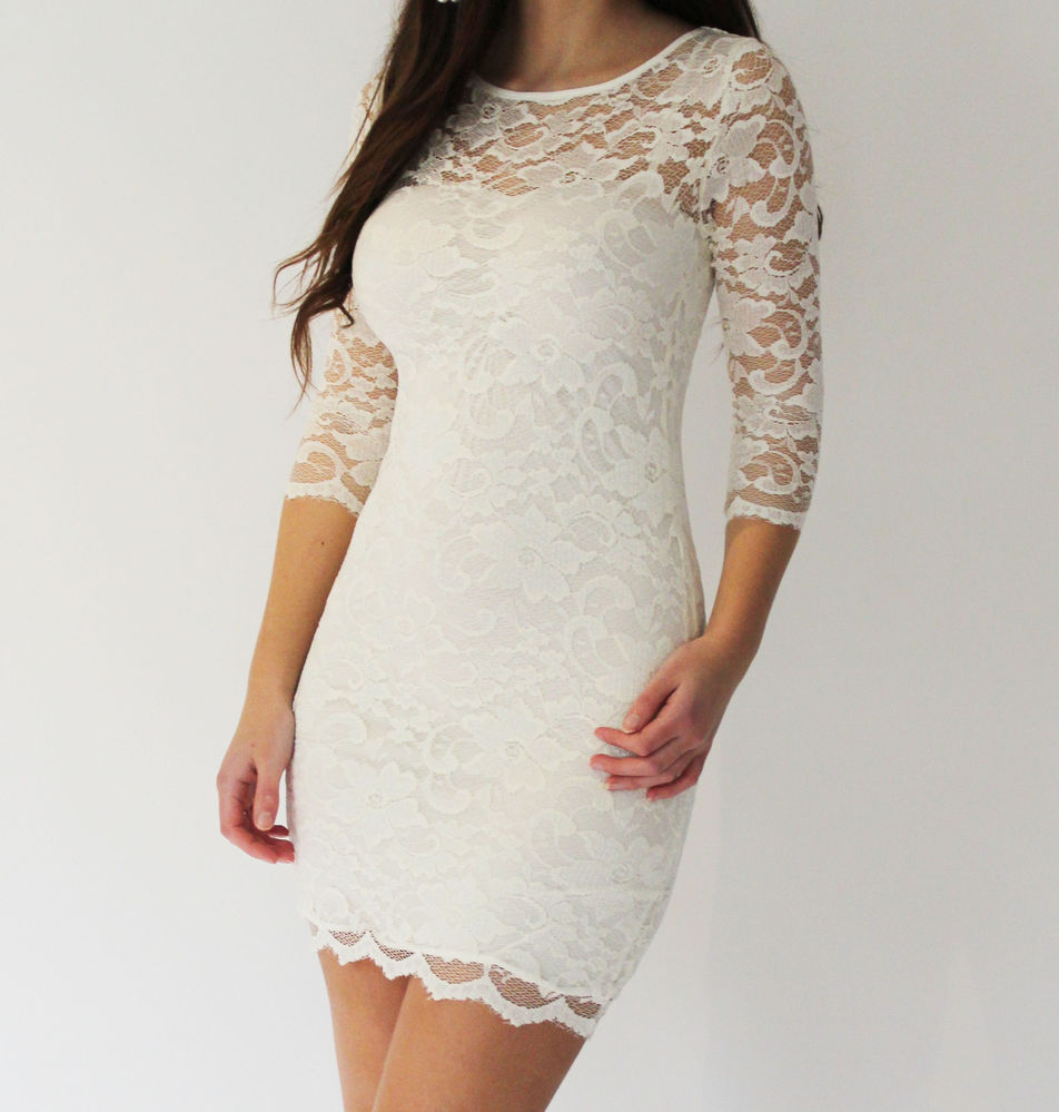 Cream White Lace Bodycon Body Con Slash Neck 3 4 Sleeve Mini Dress Sizes 6 16 | eBay