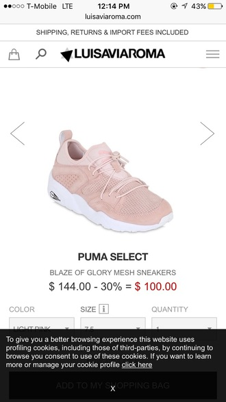 shoes pink sneakers puma