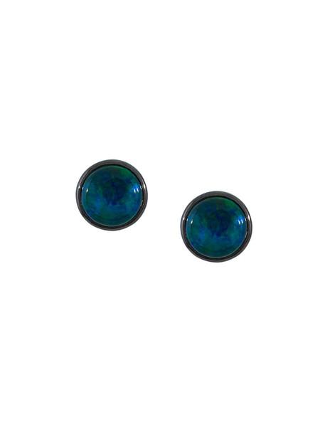 women opal earrings stud earrings gold blue jewels