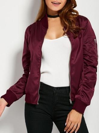 jacket burgundy bomber jacket