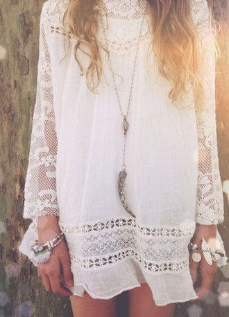 dress white dress lace dress white lace dress hippie bohemian short dress gypsy boho dress long sleeve dress beach dress beach summer dress white cotton necklace bracelets bohemian dress boho flowy dress