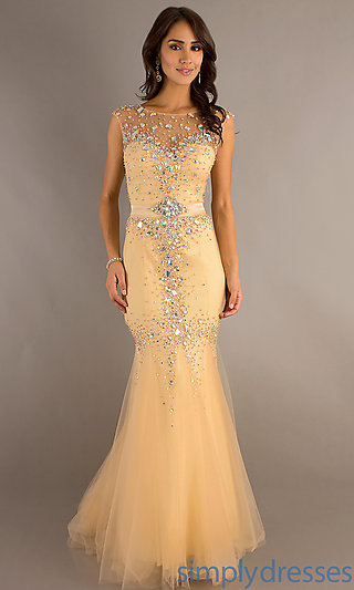 Sleeveless Mermaid Gown, Sexy Prom Gowns in Nude - Simply Dresses