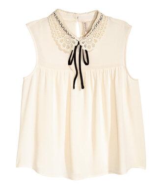 top collar cream sleeveless back to school