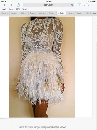 skirt feather skirt feathers see through long sleeves mini dress