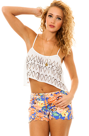 Style Hunter The Sound Effects Scallop Bottom Floral Denim Shorts in Blue -  Karmaloop.com