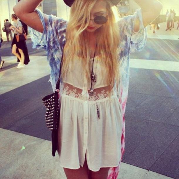 dress lace tie dye grunge boho hippie crochet sweater coat sunglasses