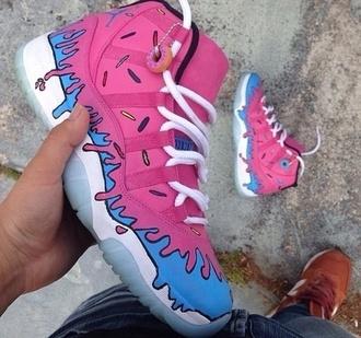 shoes donut shoes pink shoes donut pink jordans blue dope