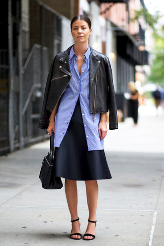 le fashion image blogger jacket shirt bag skirt work outfits blue shirt stripes striped shirt black leather jacket leather jacket black jacket midi skirt black skirt black bag handbag fall outfits streetstyle sandals black sandals