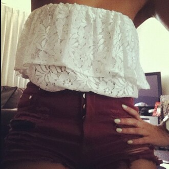 tank top lace frill ruffle white tube top shorts cute lace top boobtube cream blouse white lace