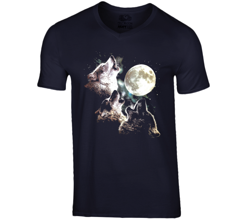 Three Wolves Howling At The Moon Graphic Tee Shirt