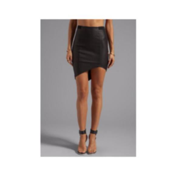 black skirt leather skirt asymmetrical