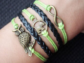 jewels,infinity,bracelets,owl,owl bracelet,dog,dog bracelet,cute dog,black,leather bracelet,handmade,jewelry,vintage,retro bracelet,green