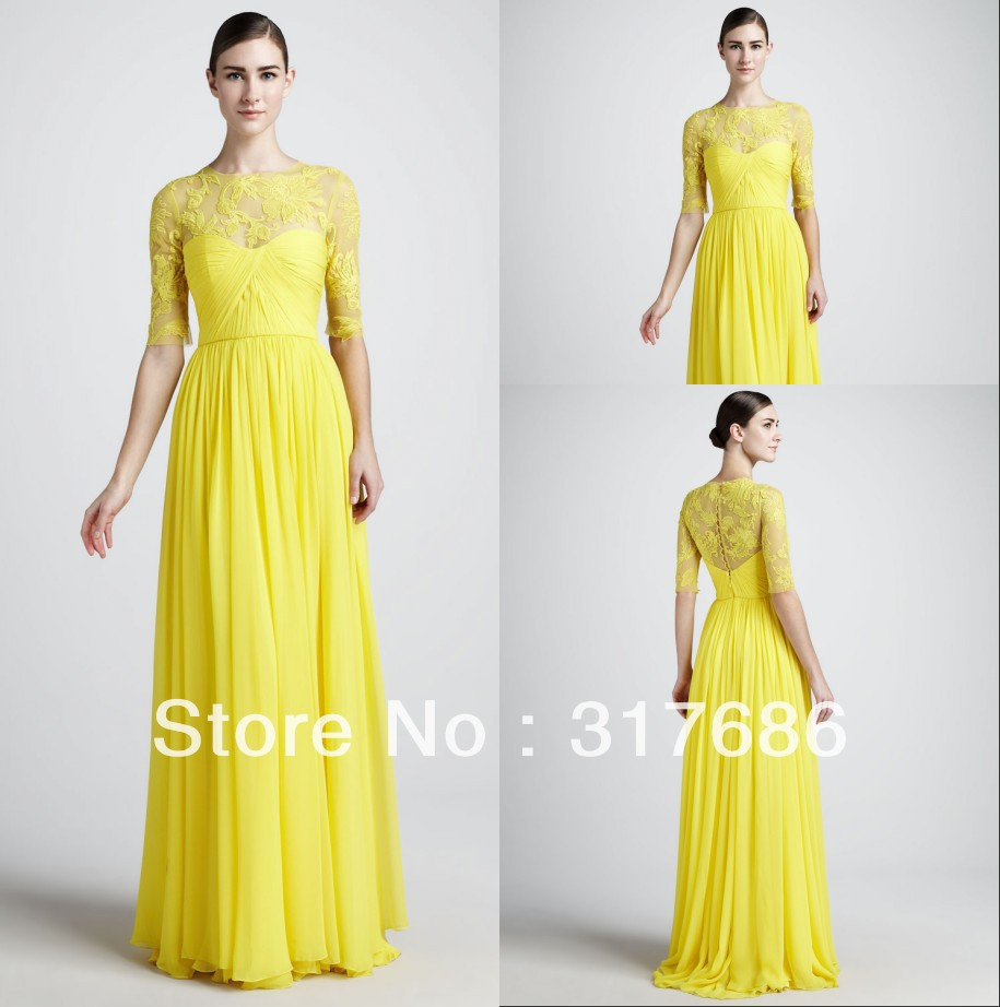 ZED 128 Free shipping designer lace floral neck pleated half sleeves long yellow evening party dresses for women 2013-in Evening Dresses from Apparel & Accessories on Aliexpress.com