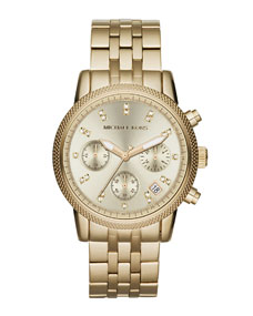 Michael Kors Mid-Size Golden Stainless Steel Ritz Chronograph Glitz Watch - Michael Kors