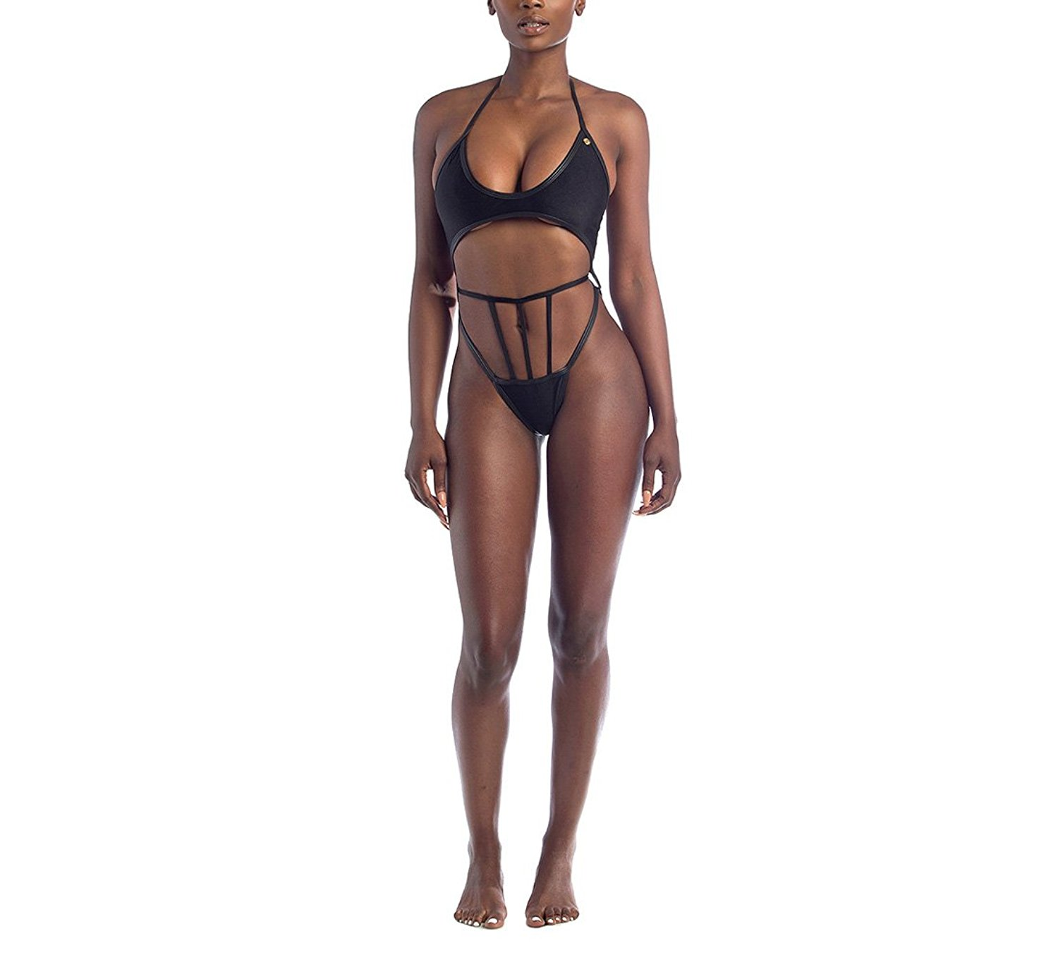 Kissprom Sexy Plunge Adjustable Straps Lace-up Bandage One Piece Swimsuit High Cut Racer-Back Slim Fit Swimwear at Amazon Women's Clothing store: