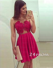 Red sweetheart chiffon short prom dresses, homecoming dresses