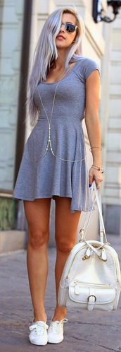 dress,grey summerdress,backpack,bag,jewels,cute,cute dress,nice,nice dress,nice outfit,cute outfits,pretty,grey,grey dress,grunge,pale,pale grunge,shoes,skater dress,knitted dress,jewelry,body chain