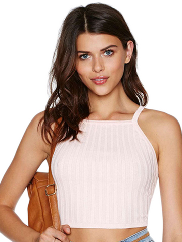 Sleeveless Solid Knitted Cropped Top