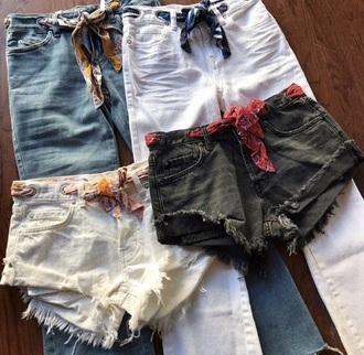 shorts bandana denim cutoffs high-waist jean shorts summer cute vacation outfits preppy grunge hipster