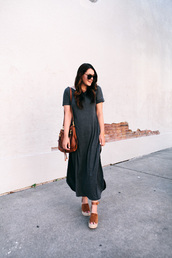 shoes,sandals,platform sandals,sunglasses,bag,black dress,long dress