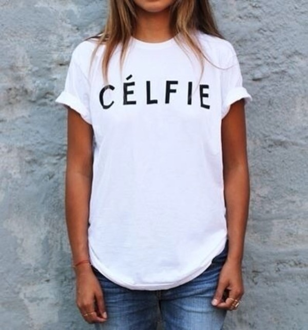 shirt white selfie celfie t-shirt blouse wow nice spring fall outfits hipster summer summer top sweet cute new top celfie shirt trendy swag model fashion celfie t shirt whit tumblr outfit