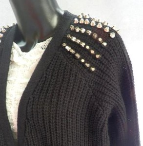 Topshop Stud Shoulder Rib Knitted Oversized Boyfriend Long Slouchy Punk Cardigan | eBay