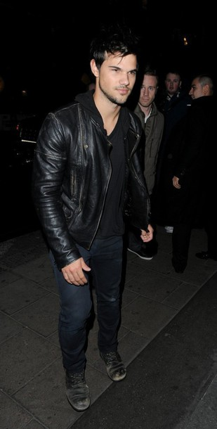 jacket leather jacket taylor lautner