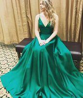 dress,prom dress,prom,floor length dress,green,green dress,gown,satin