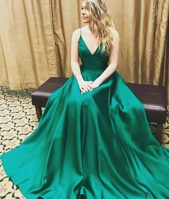 dress prom dress prom floor length dress green green dress gown satin