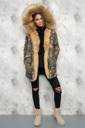jacket,fur,lined jacket,camouflage,camo jacket,winter jacket