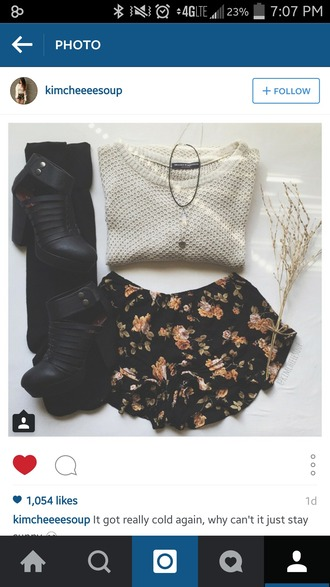 sweater cream sweater black boots flowered shorts