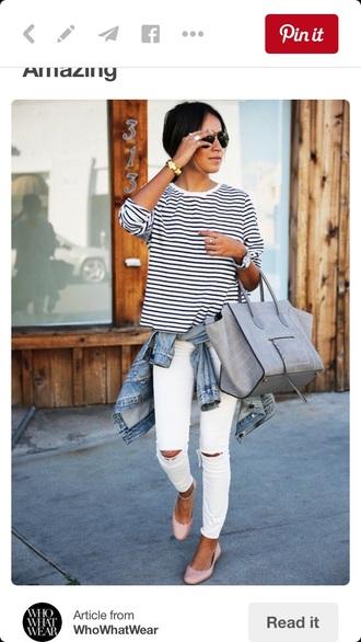 t-shirt nav stripes white jeans striped top white ripped jeans