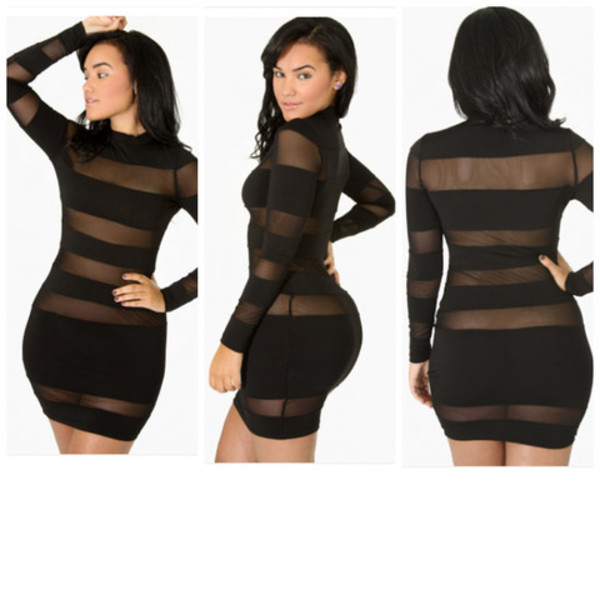 dress little black dress cut out bodycon dress