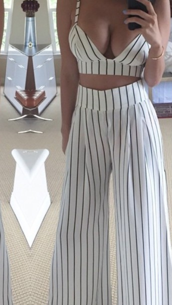 romper monochrome dress fashion style outfit pants High waisted shorts striped dress striped skirt striped shirt crop tops crop cropped sweater white crop tops white top black dress black crop top black high waisted pants black and white dress