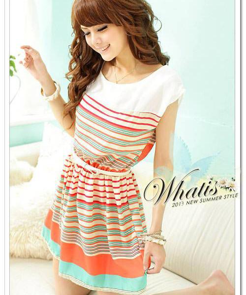 [Unbeatable At $X.99] 2014 summer New Fashion Colorful Stripes orange Chiffon Mini Dress Women's Dresses | Amazing Shoes UK