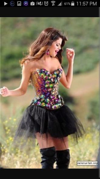 dress party dress bustier dress selena gomez embellished dress