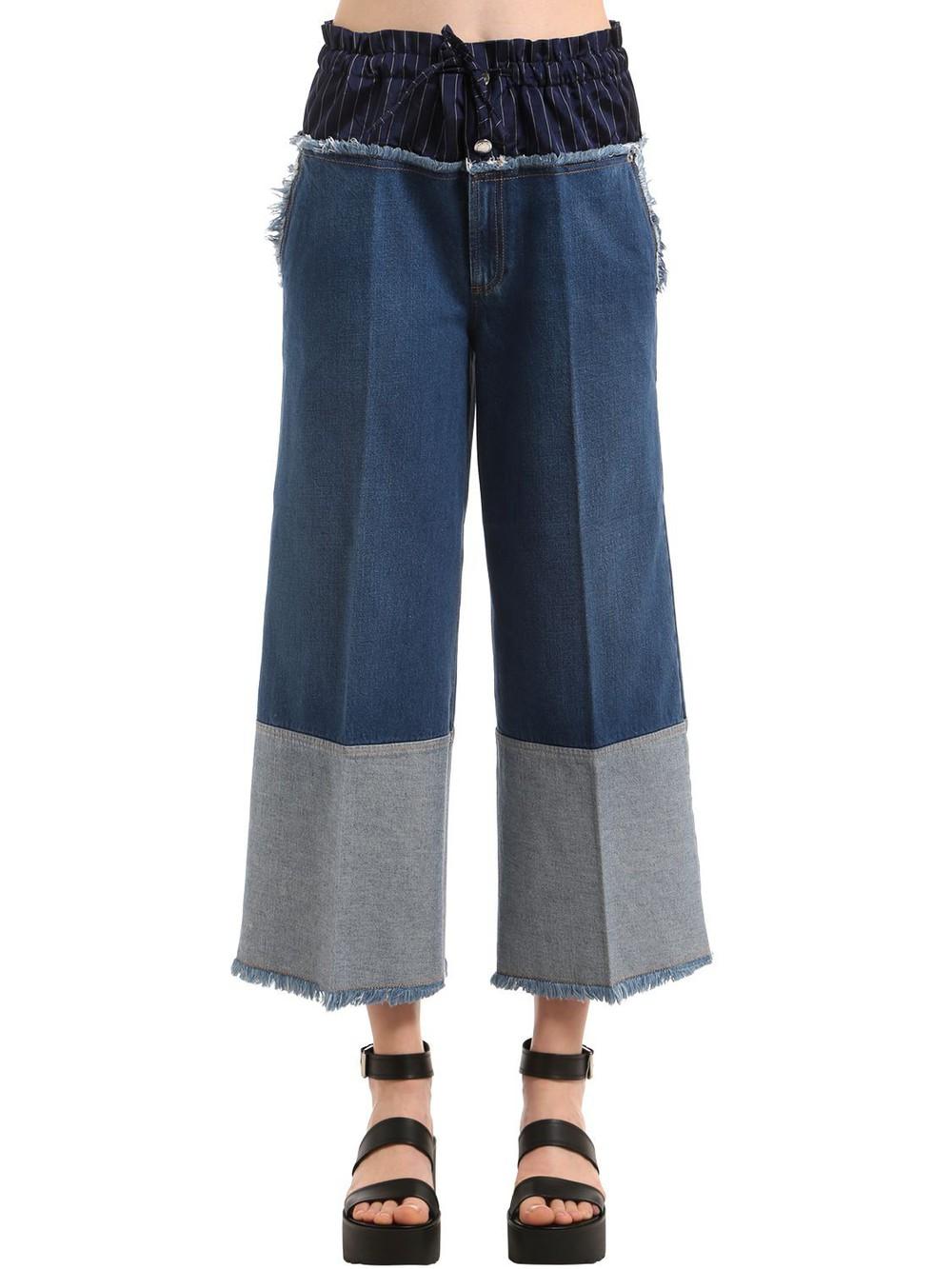SONIA RYKIEL Cropped Denim Jeans W/ Boxer Waist in blue
