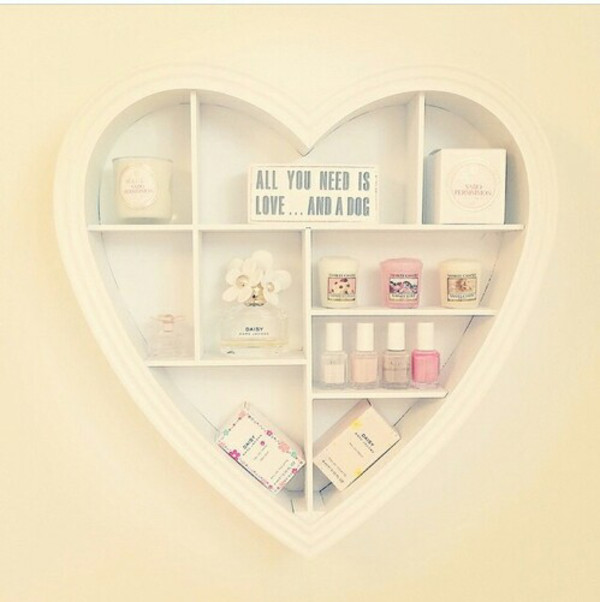White heart shaped wall shelf bedroom girls kitchen for Pastel diy room decor