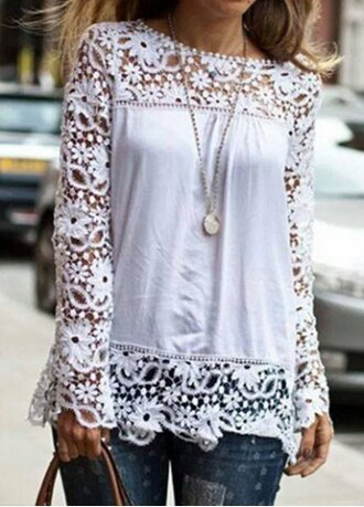 top lace white casual fashion style embroidered long sleeves summer spring cute girly