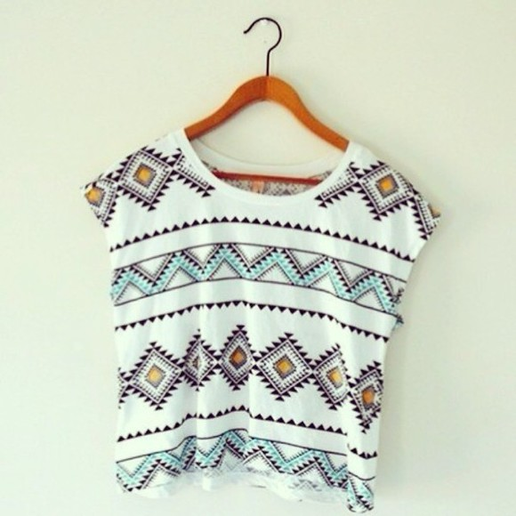 shirt baggy tshirt white hipster tropical print tribal pattern loose tshirt pink light blue scoop neck triangle shapes blouse blouse, top, t-shirt, aztec, pattern