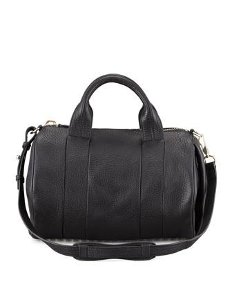 Alexander Wang Rocco Leather Satchel Bag, Black/Pale Gold - Neiman Marcus