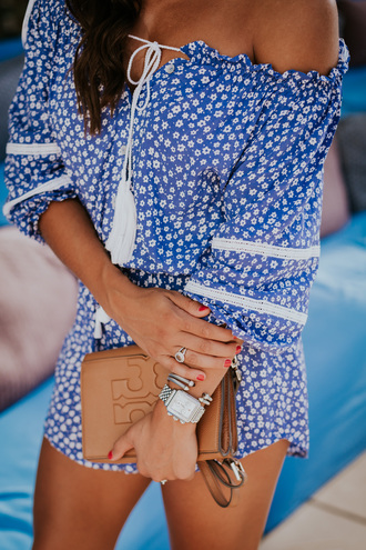 jewels tumblr jewelry silver jewelry accessories accessory bracelets silver bracelet bag brown bag blue romper romper off the shoulder ring