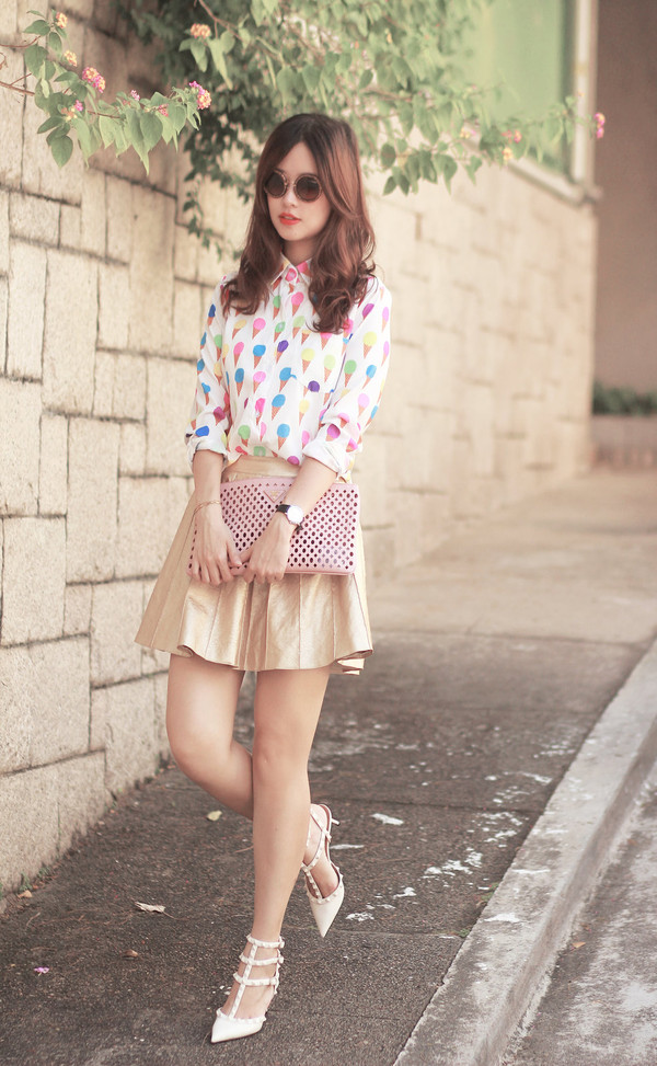 mellow mayo sunglasses shirt skirt bag shoes t-shirt dress