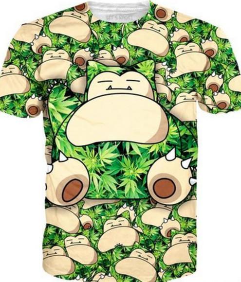 pokemon t-shirt snorlax weed shirt weed