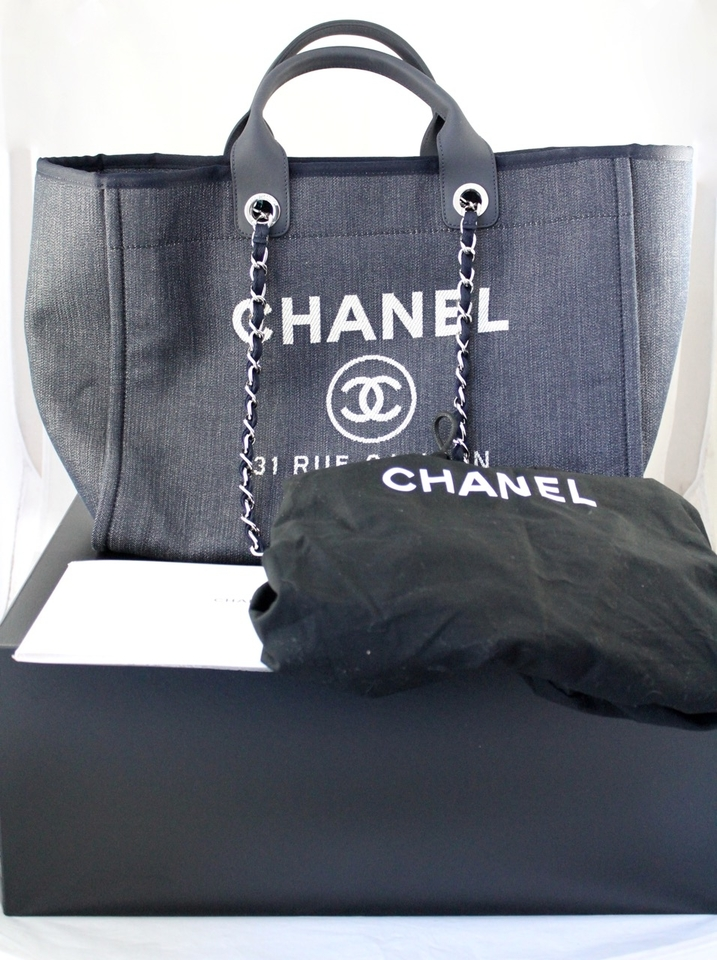 fe3a7c57fe57 Chanel Large Deauville Shopping Denim 30cm Dark Blue Tote Bag