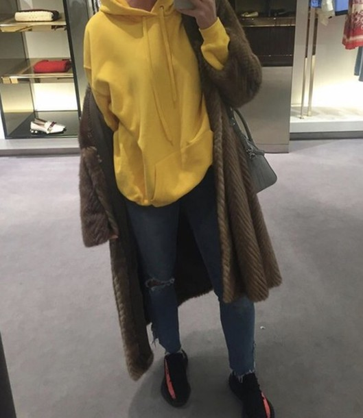 Sweater yellow hoodie jeans ripped fashion baddies coat yeezy outfit - Wheretoget
