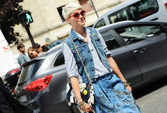 skirt embroidered skirt blue skirt denim skirt shirt striped shirt vest denim vest blue vest bag shoulder bag black and white bag sunglasses red sunglasses streetstyle embroidered denim skirt