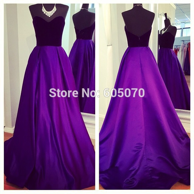 2014 fashion satin prom dress party evening dress black and purple strapless vestidos