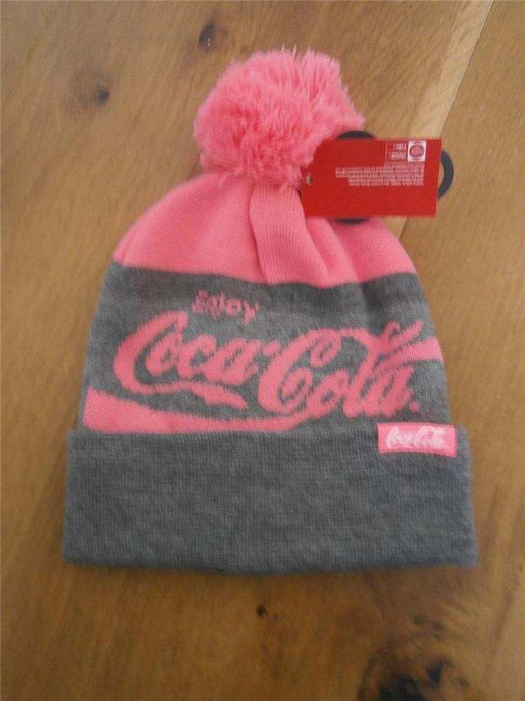 Coca Cola Beanie Hat Primark Pink and Grey One size Womens Pom ... ad5e70cb67f